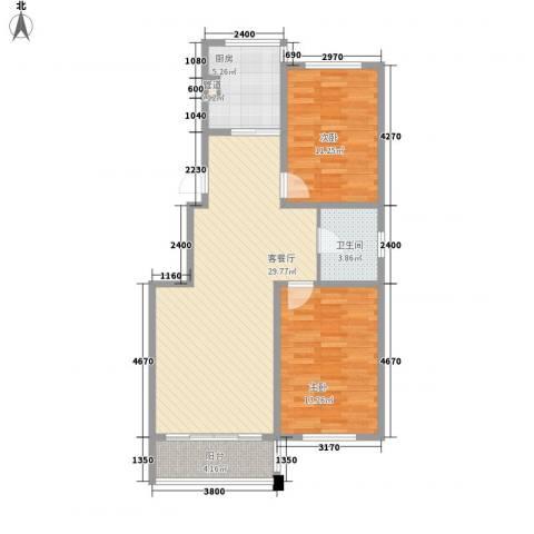 鑫丰又一城2室1厅1卫1厨88.00㎡户型图