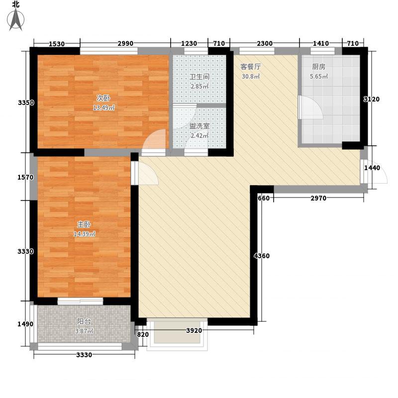 康乐花园109.47㎡1、3号楼东西把头户型2室2厅2卫1厨