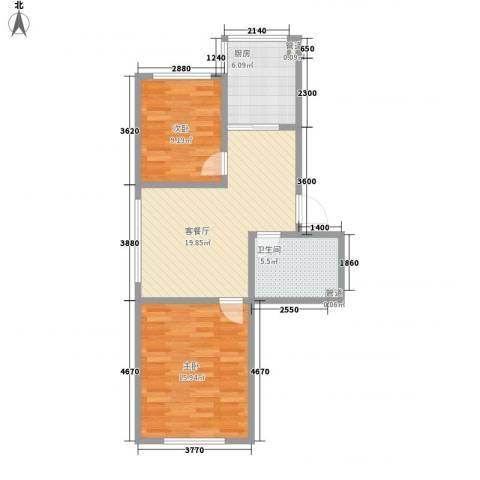 鑫丰又一城2室1厅1卫1厨72.00㎡户型图