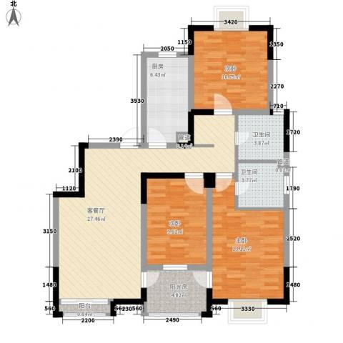 西郡188花园3室1厅2卫1厨118.00㎡户型图