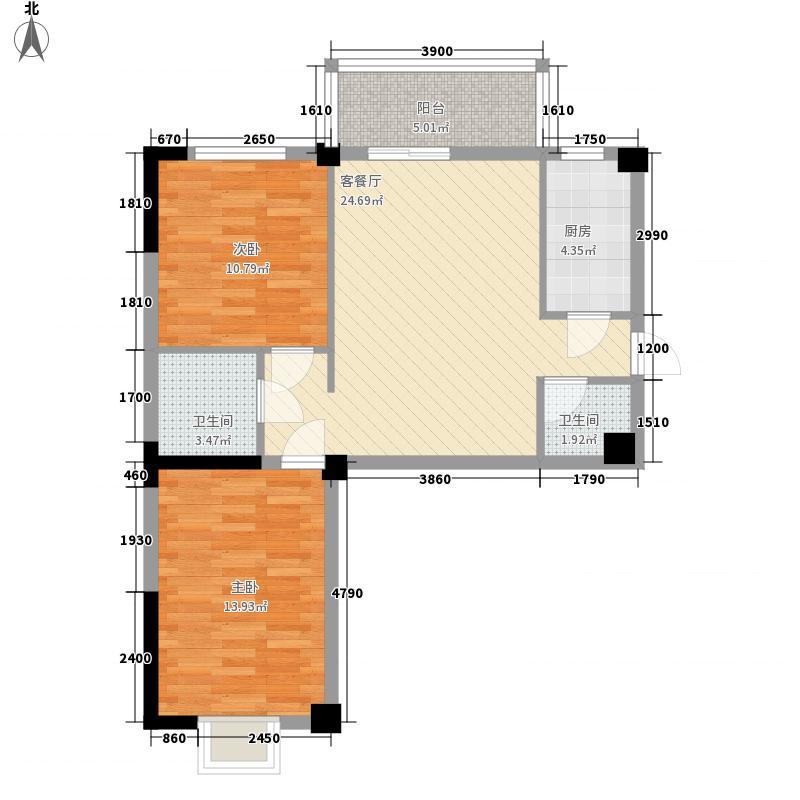 康乐花园91.19㎡8号楼东单元西户户型2室2厅2卫1厨