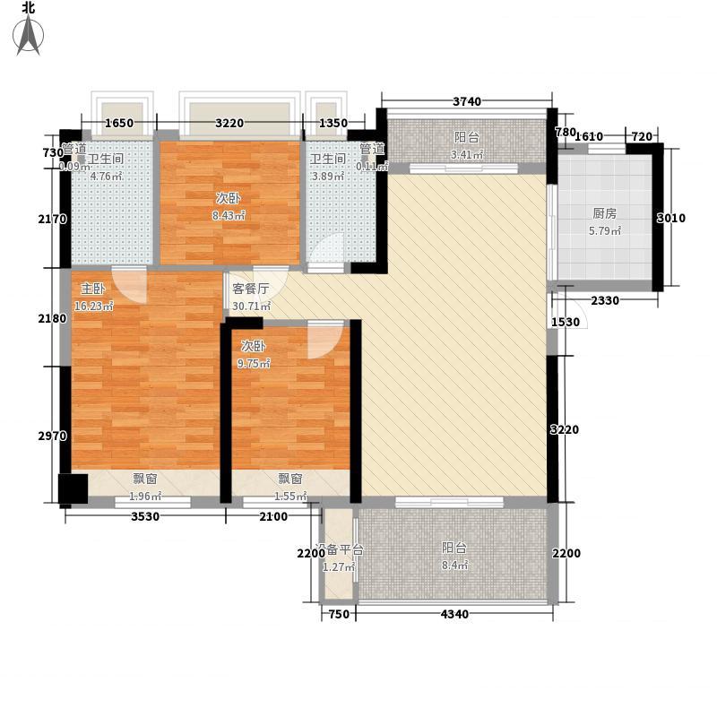 怡翠宏�114.54㎡怡翠宏景3座-02户型3室2厅2卫