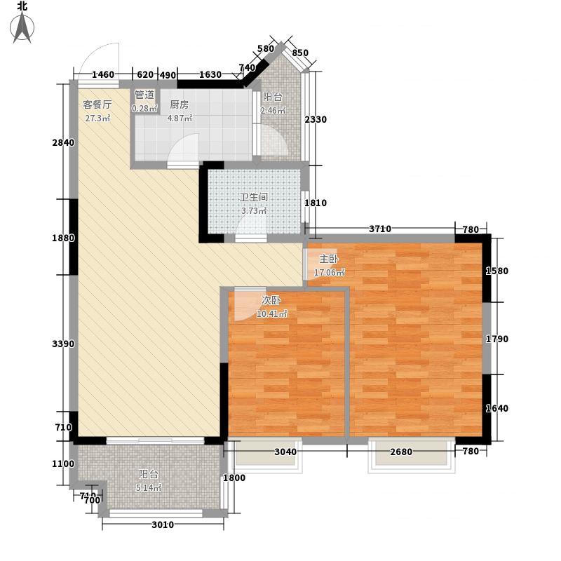 民发世界城二期88.00㎡二期B地块8#朝南J3户型2室2厅1卫1厨