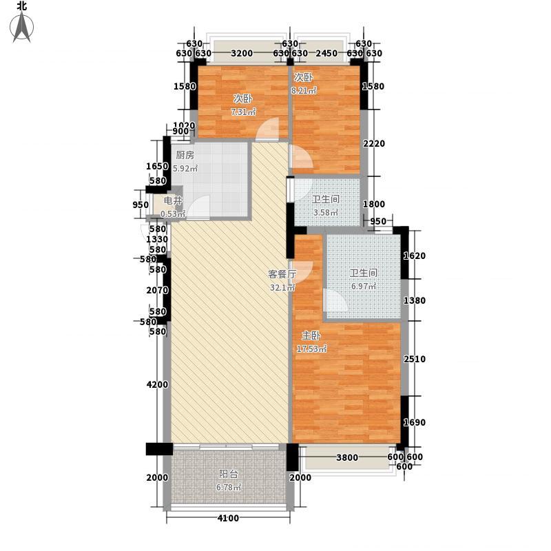力迅城筑117.00㎡北区1~3号楼01单位户型3室2厅1卫1厨