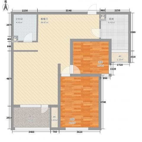 裕中西里2室1厅1卫1厨115.00㎡户型图