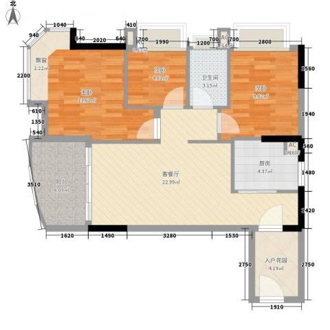 碧桂园椰城3室1厅1卫1厨84.00㎡户型图