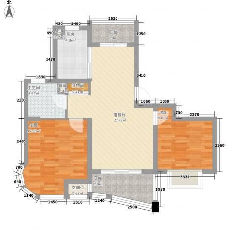 荣域飘鹰锦和花园2室1厅1卫1厨88.00㎡户型图