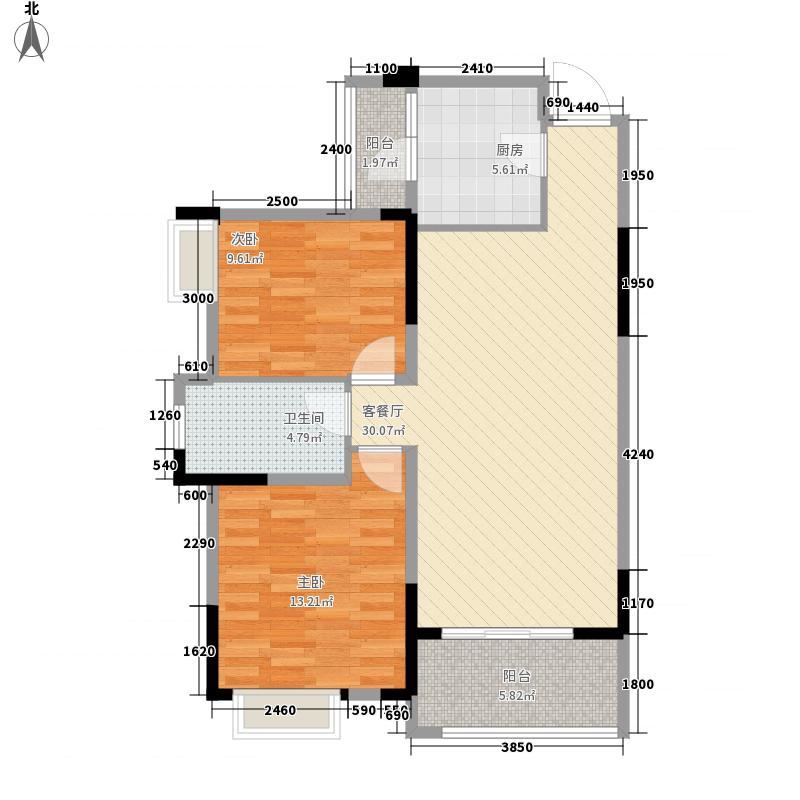 民发世界城二期8.00㎡二期B地块8#朝南B3-01户型2室2厅1卫1厨