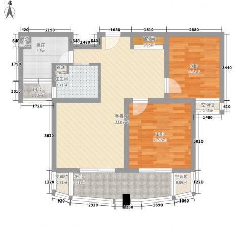 荣域飘鹰锦和花园2室1厅1卫1厨91.00㎡户型图