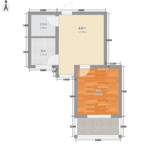 万和瑞景1厅1卫1厨52.00㎡户型图