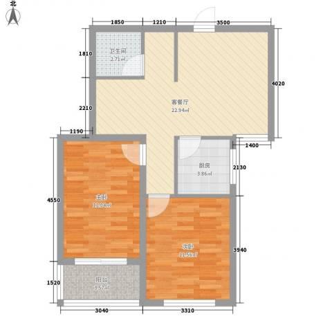 万和瑞景2室1厅1卫1厨81.00㎡户型图