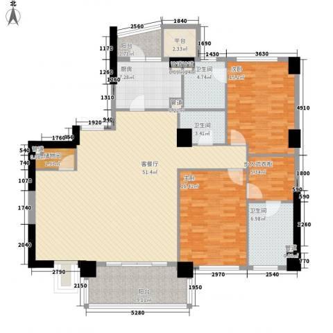 恒元悦城2室1厅3卫1厨181.00㎡户型图