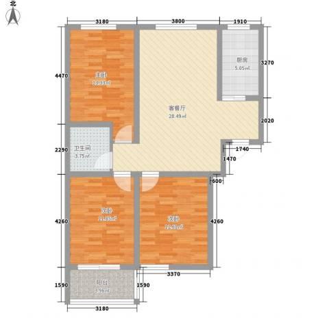 万和瑞景3室1厅1卫1厨113.00㎡户型图