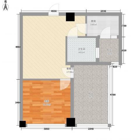 骏丰嘉骊花园1室1厅1卫1厨76.00㎡户型图