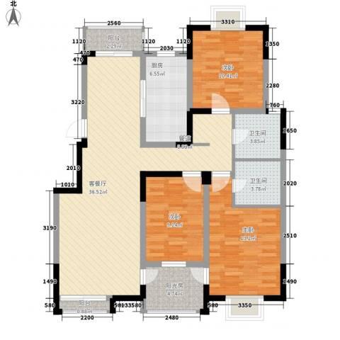 西郡188花园3室1厅2卫1厨132.00㎡户型图