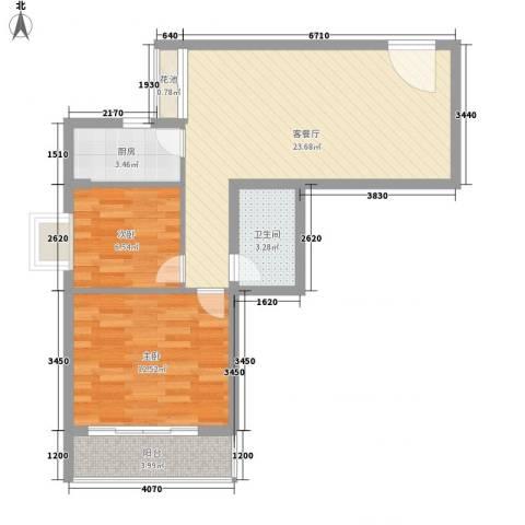 兰蒂斯城2室1厅1卫1厨78.00㎡户型图