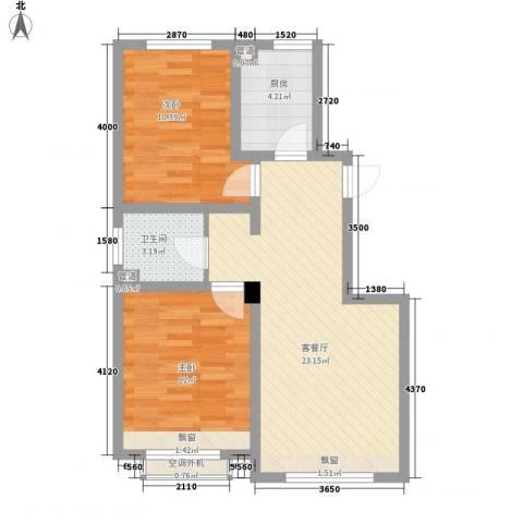 大禹褐石公园2室1厅1卫1厨77.00㎡户型图
