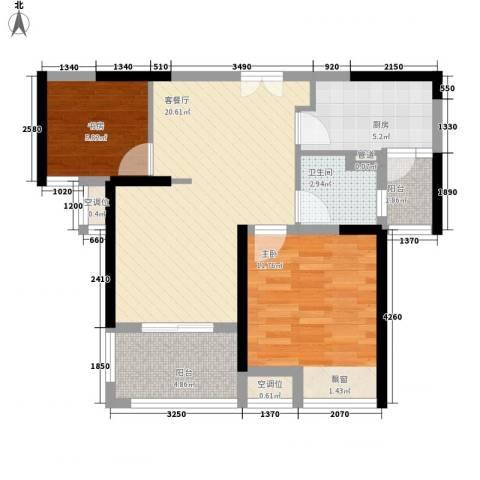 万业紫辰苑2室1厅1卫1厨80.00㎡户型图