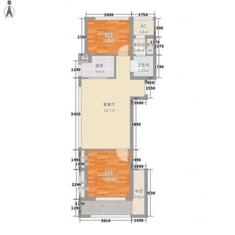 绿城�园2室1厅1卫1厨88.00㎡户型图