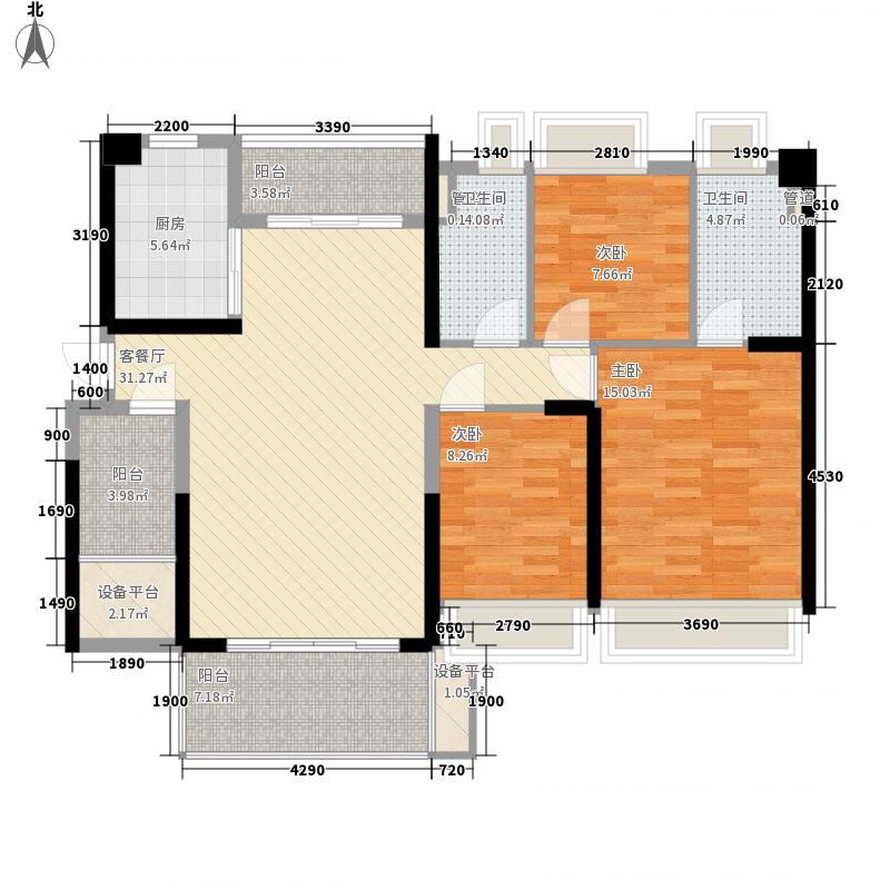 怡翠宏�116.30㎡怡翠宏景3座-04户型3室2厅2卫