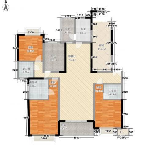 锦绣山河四期3室1厅3卫1厨185.00㎡户型图