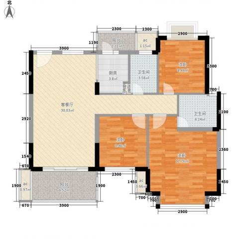 春晖园3室1厅2卫1厨125.00㎡户型图