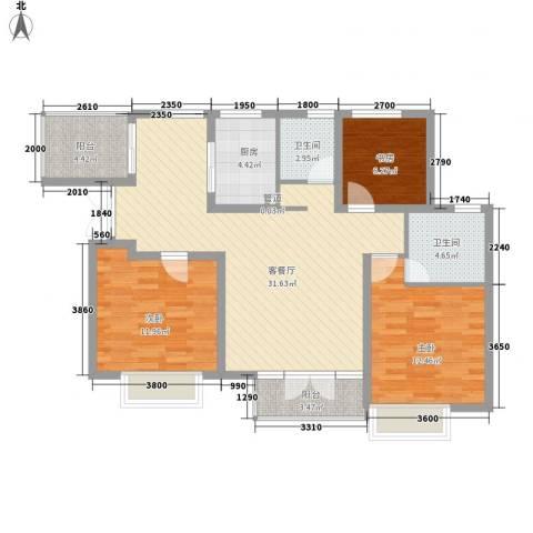 天地源津九轩3室1厅2卫1厨137.00㎡户型图