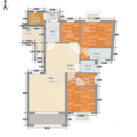 东泰花园裕华苑4室1厅2卫1厨86.00㎡户型图