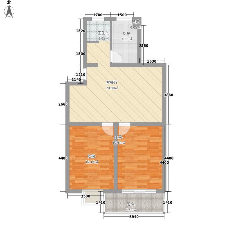 米兰城市花园84.20㎡A户型2室2厅1卫