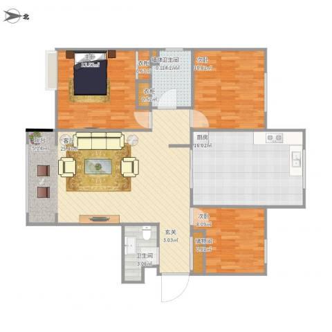 永泰庄19号院2室1厅1卫1厨122.00㎡户型图