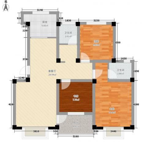 兴达绿郡3室1厅2卫1厨111.00㎡户型图