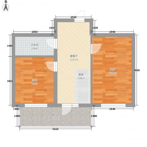 恒美家园2室1厅1卫0厨65.00㎡户型图