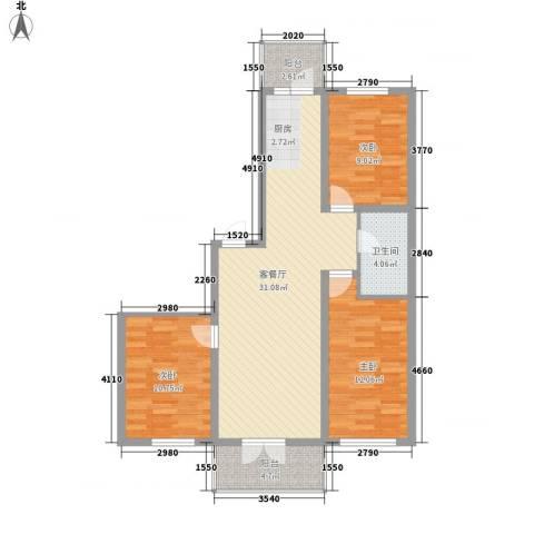 恒美家园3室1厅1卫0厨106.00㎡户型图