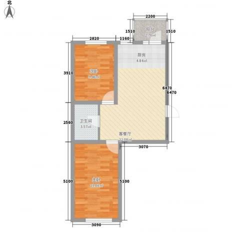 恒美家园2室1厅1卫0厨74.00㎡户型图