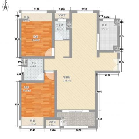 海上硕和城2室1厅2卫1厨117.00㎡户型图