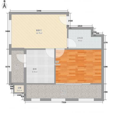 恒美家园1室1厅1卫1厨81.00㎡户型图