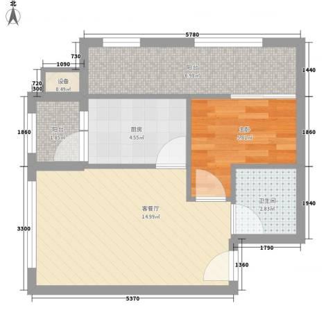 恒美家园1室1厅1卫1厨55.00㎡户型图