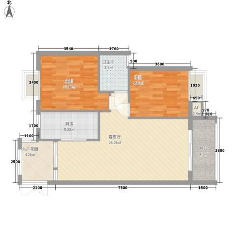 金领家族2室1厅1卫1厨87.00㎡户型图
