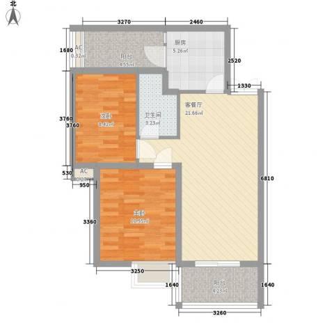 金领家族2室1厅1卫1厨85.00㎡户型图