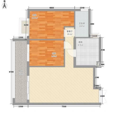 金领家族2室1厅1卫1厨92.00㎡户型图