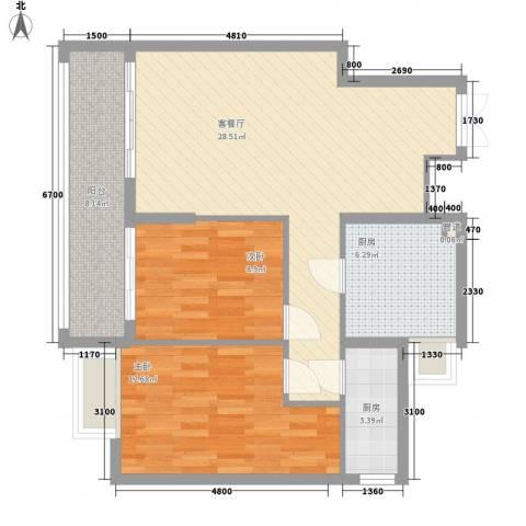 金领家族2室1厅0卫2厨94.00㎡户型图
