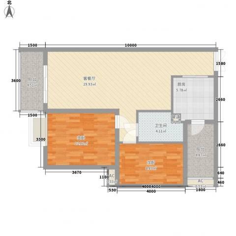 金领家族2室1厅1卫1厨90.00㎡户型图