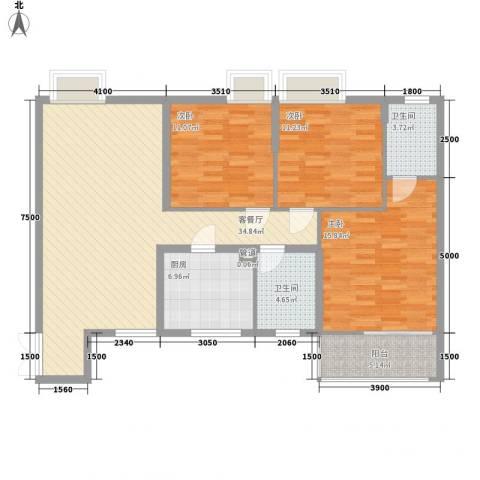 金领家族3室1厅2卫1厨129.00㎡户型图
