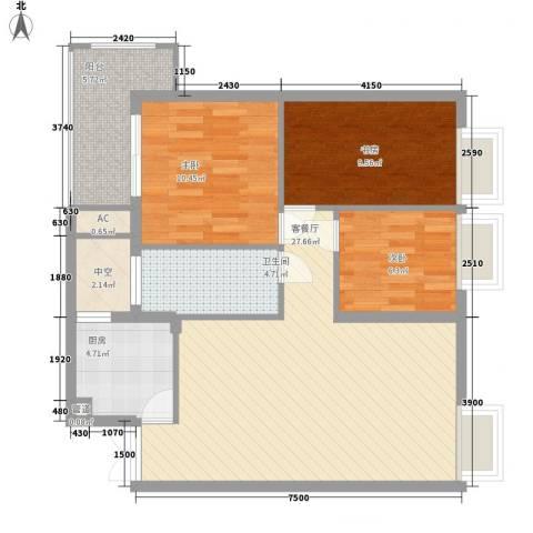 金领家族3室1厅1卫1厨94.00㎡户型图