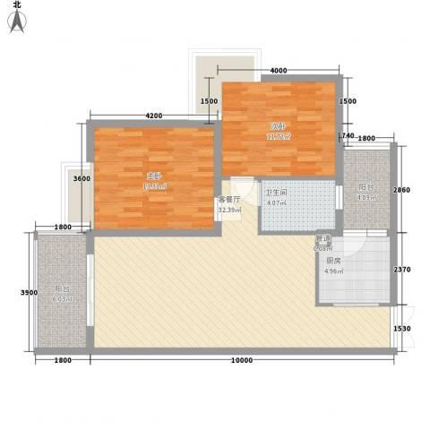 金领家族2室1厅1卫1厨100.00㎡户型图