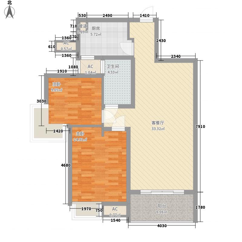 水岸星城98.00㎡水岸星城2室户型2室