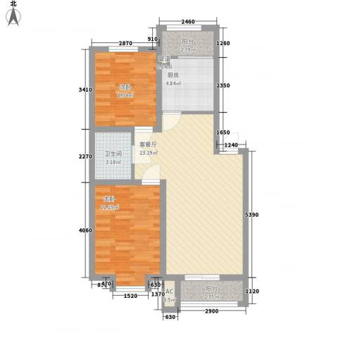 兴盛景悦蓝湾2室1厅1卫1厨82.00㎡户型图