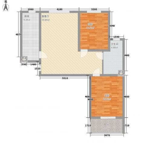 良兴美嘉城2室1厅1卫1厨82.76㎡户型图