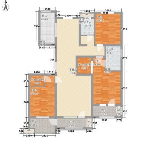 紫林湾3室1厅2卫1厨164.00㎡户型图