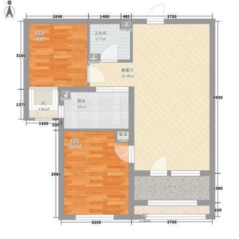紫林湾2室1厅1卫1厨86.00㎡户型图
